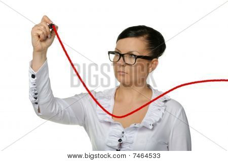 The Woman Drawing Increasing A Line Of The Diagram