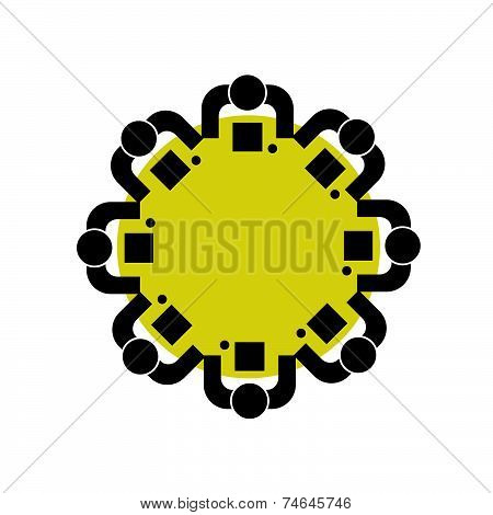People At A Round Table Vector Illustration