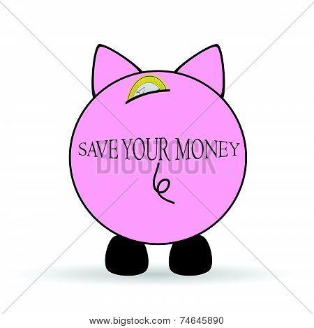 Piggy Bank Save Your Money Illustration