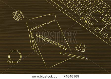 Desk With Keybord, Coffee And Business Documents