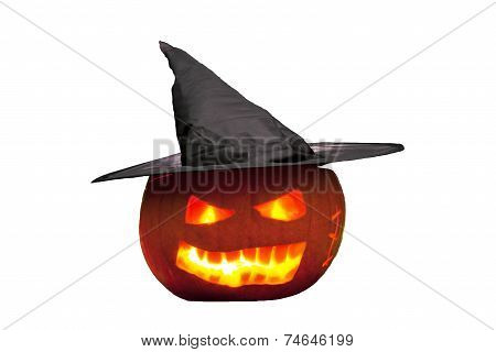 Scary witch Pumpkin Jack O'Lantern.