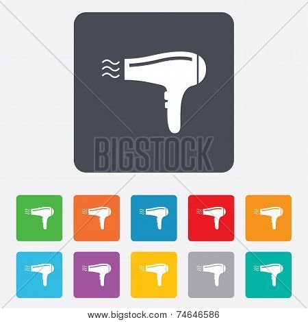 Hairdryer sign icon. Hair drying symbol.