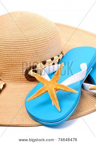 Beach Hat, Flip Flops And Starfish