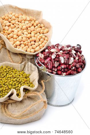 Chick-pea, Mung Beans, Kidney-beans In The Sacks