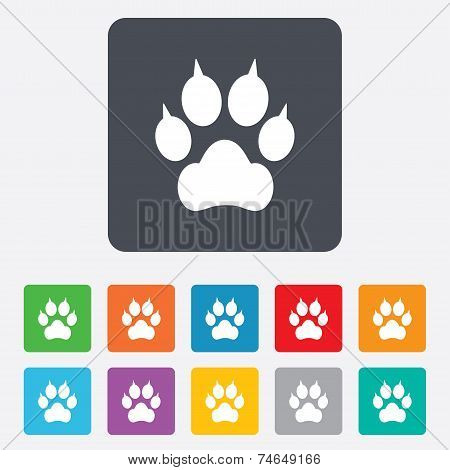 Dog paw with claws sign icon. Pets symbol.
