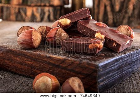 Pile Of Chocolate Bars With Nuts