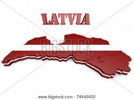 Illustration Map Of Latvia