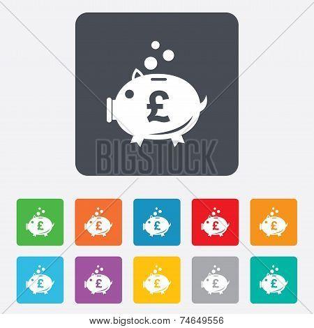 Piggy bank sign icon. Moneybox symbol.