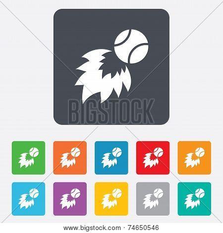 Tennis fireball sign icon. Fast sport symbol.