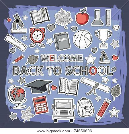 Vector doodle school set