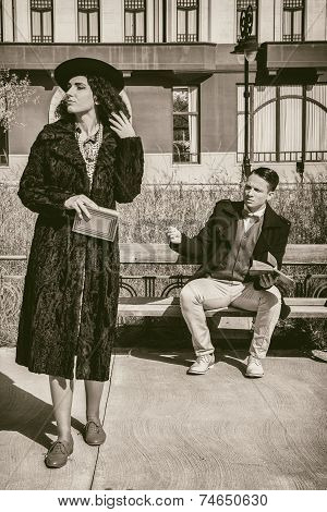 Two People With Relationship Problems And Disagreements In Vintage Style