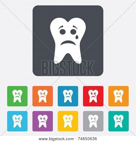 Tooth sad face with tear sign icon. Aching tooth