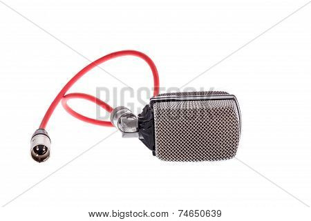 Vintage  Microphone With Red Cable For Lead Vocal On Live Gig  Or For Drums