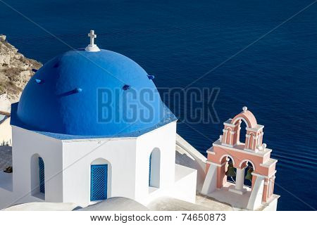 Church Of Oia Overlooking The Ocean