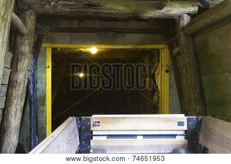 Mine Car Entering Coal Mine