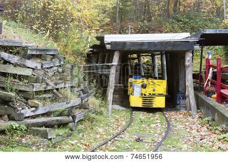 Mine Entrance With Mine Car