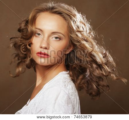 beautiful blond with gorgeous curly hair