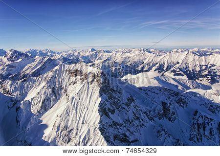 Jungfrau Region Helicopter View In Winter