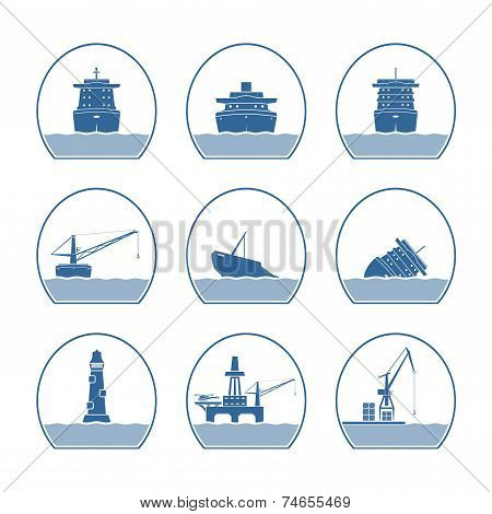 Silhouettes Of Ships And Marine Structures