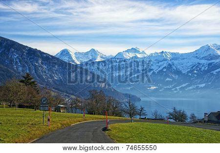 Thun Lake And Jungfrau Ridge Peaks  In Bern Highland View
