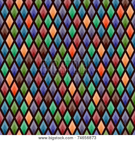 Seamless Background Of Colored Rhombs In Ethnic Shades