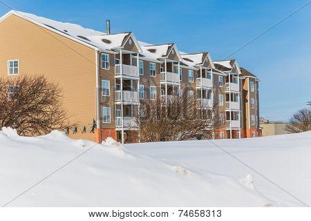 Apartment building after a snow storm.