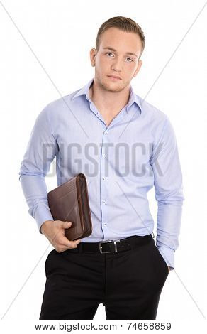 Frustrated and overworked isolated businessman over white.