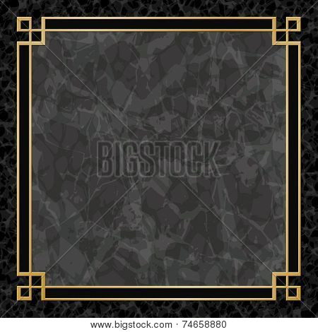 A Black Marble Background with Gold Frame, Border - EPS 10