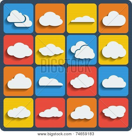 Vector Cloud Shapes Set