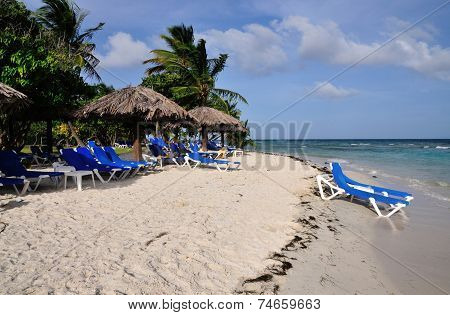 Beach chairs on a caribbean beach