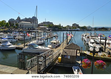 VICTORIA, CANADA JULY 15: View of  busy pier on July 15, 2014 at Victoria Waterfront