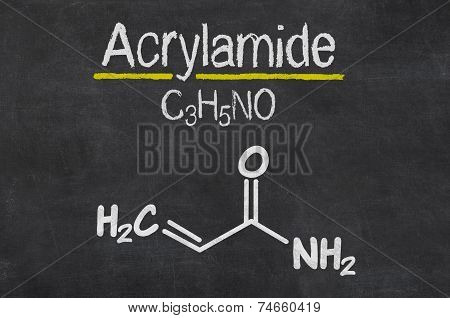 Blackboard with the chemical formula of Acrylamide