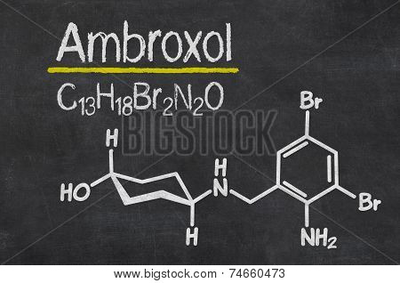 Blackboard with the chemical formula of Ambroxol