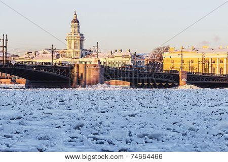 Vasilyevsky Island And Palace Bridge Early Winter Morning In St. Petersburg
