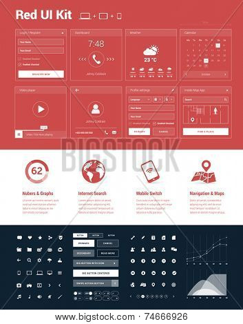 Red UI Kit for designing responsive websites, mobile apps & user interfaces in flat design style on red background with white graphic elements