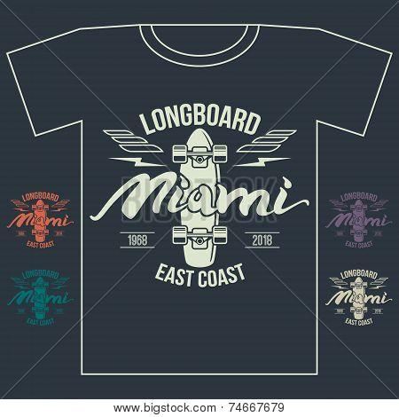 Longboard Emblem Retro Print