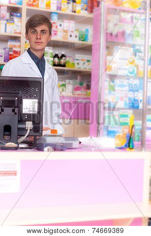 Pharmacist Waiting For The Client
