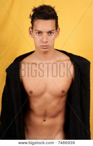 Sexy Young Man With Bathrobe