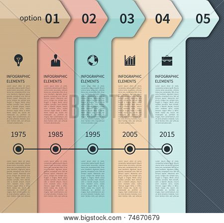 Modern timeline arrow infographics elements