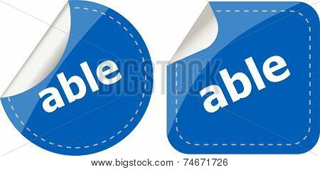 Able Word Stickers Set Icon Button Isolated On White