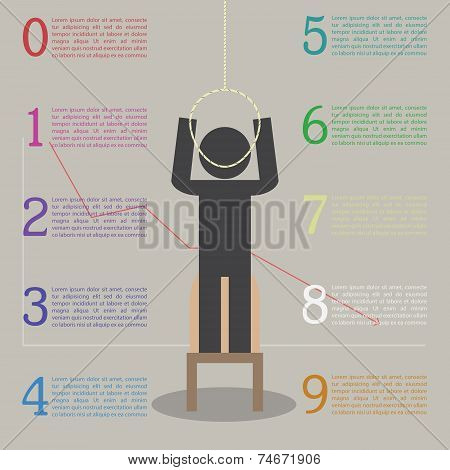 Infographics Of The Effects Of Stress. Stickman Are About To Commit Suicide Because Of Stress