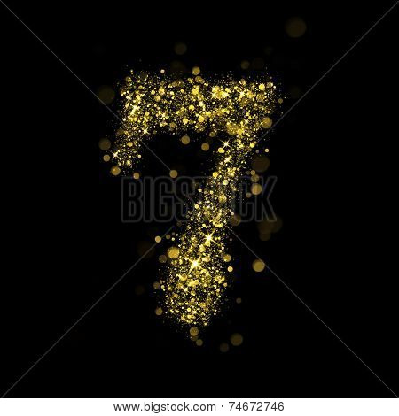 Number seven of gold glittering stars (glittering font concept)