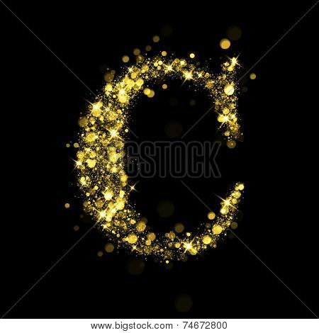Sparkling Letter C on black background. Alphabet of golden glittering stars (glittering font concept). Christmas holiday illustration of bokeh shining stars character..