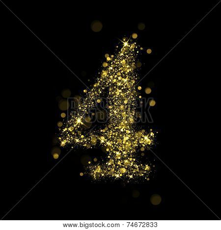 Number four of gold glittering stars (glittering font concept).Vector christmas illustration of a shining stars numbers.