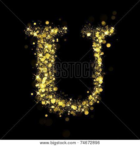 Sparkling Letter U on black background. Alphabet of golden glittering stars (glittering font concept). Christmas holiday illustration of bokeh shining stars character..