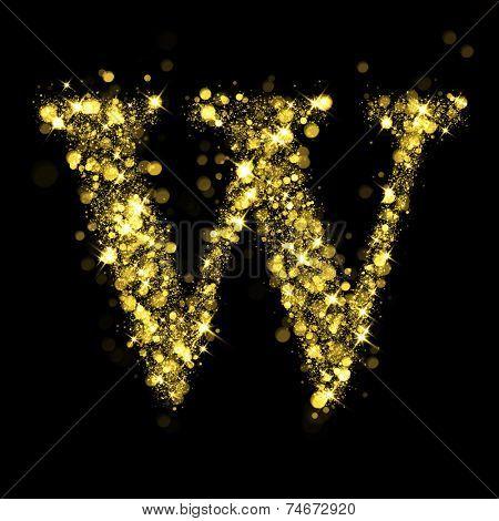 Sparkling Letter W on black background. Alphabet of golden glittering stars (glittering font concept). Christmas holiday illustration of bokeh shining stars character..