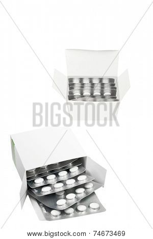 box of the pills under the light background