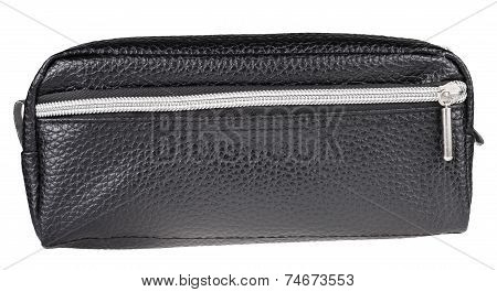 Leather Pen Case Isolated On White