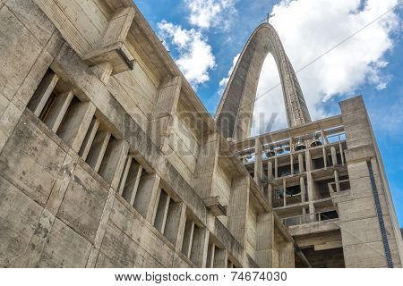 Basilica La Altagracia Church in Higuey Dominican Republic view from behind religious architecture