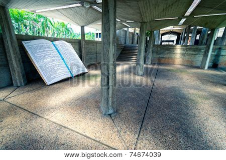 Huge bible section part set as monument in backyard of Basilica La Altagracia Church in Higuey Domin